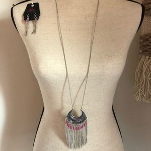 Long Pink & Silver Aztec necklace w/ earrings